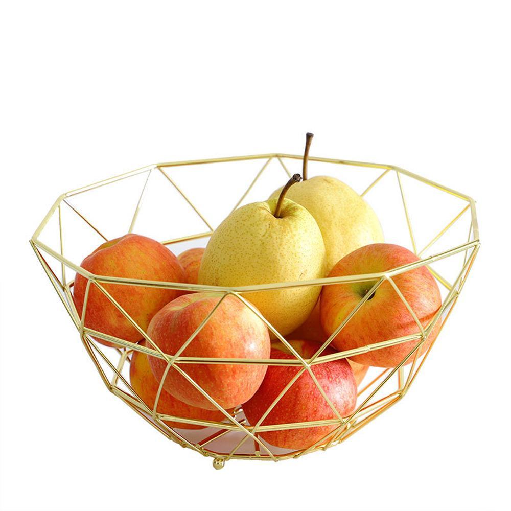 Modern Dövülmüş Irons Mesh Tel Meyve Bowl-Altın / Mutfak Tabloları için Pembe Altın Meyve Sepeti Depolama Organizatör