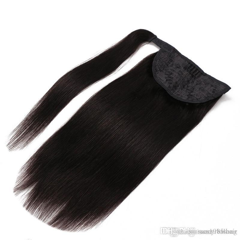 100% natürliche brasilianische Remy Menschenhaar Pferdeschwanz Schachtelhalm Clips in auf Echthaarverlängerung Glattes Haar 100g verschiedene Farboptionen eingestellt