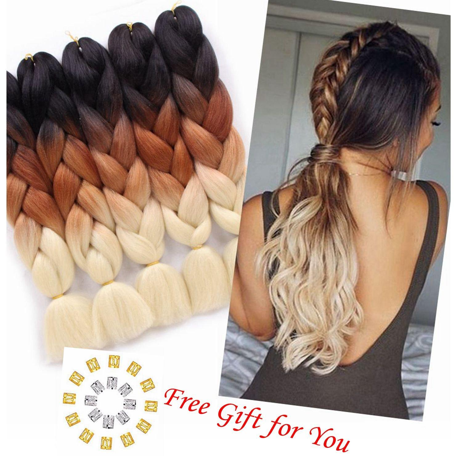 """24"""" 1pcs/Pack 100g/pc Afro Synthetic Jumbo Braids Ombre Kanekalon Fiber Hair Extension for Braiding Hairstyles (Black/Brown/613)"""