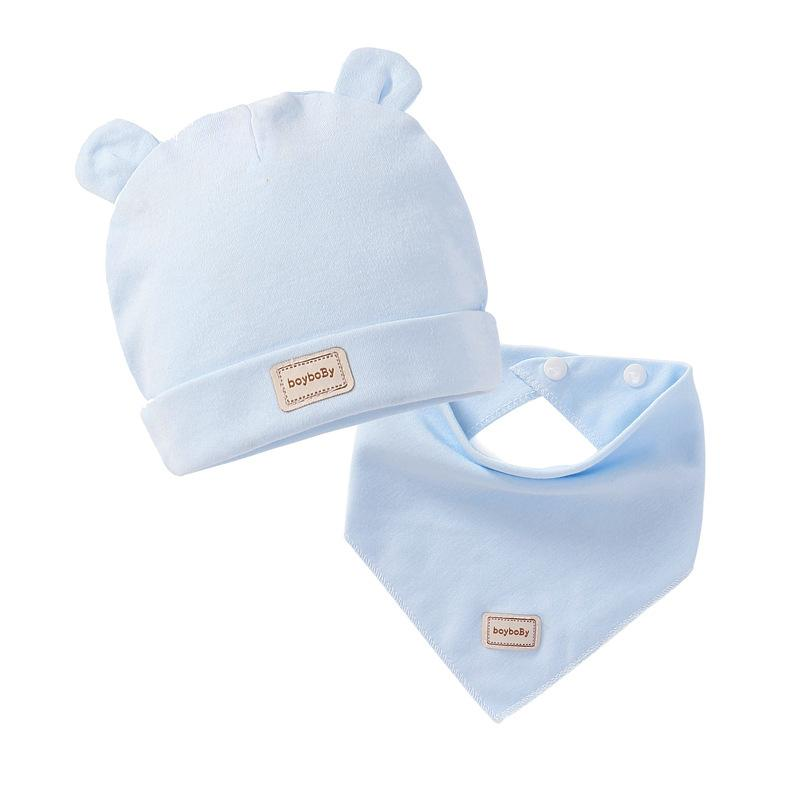 Caps Beanies Hats Bibs with Cute Cotton Solid Colors Kids Boys Girls Baby and Hair Accessories for Caps&hats Headband