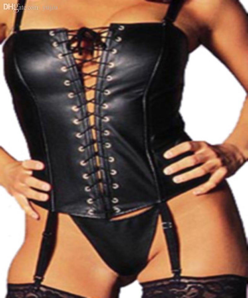 Atacado-S-XL Novo Design Sexy Erotic Women Corset Tops Couro PVC Shapewear Fetish Preto Corset Lingerie Frente Lace Up Bustier Corset