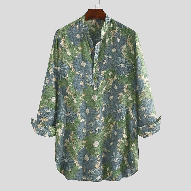 Men Shirt Floral Print Vintage Streetwear 2020 Casual Long Sleeve V Neck Long Style Tops Men Muslim Clothing INCERUN Plus Size