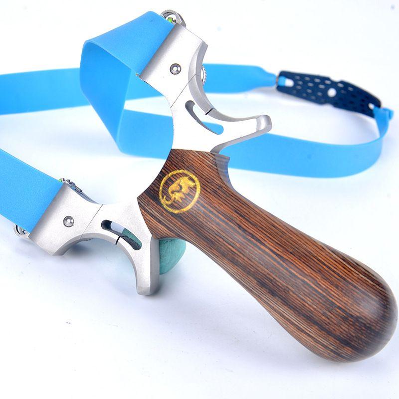 포인트를 목표로 고속 나무 손잡이 슬링 샷을 촬영 전문 새총 사냥 투석기 양궁 Slingbow 평면 고무 밴드