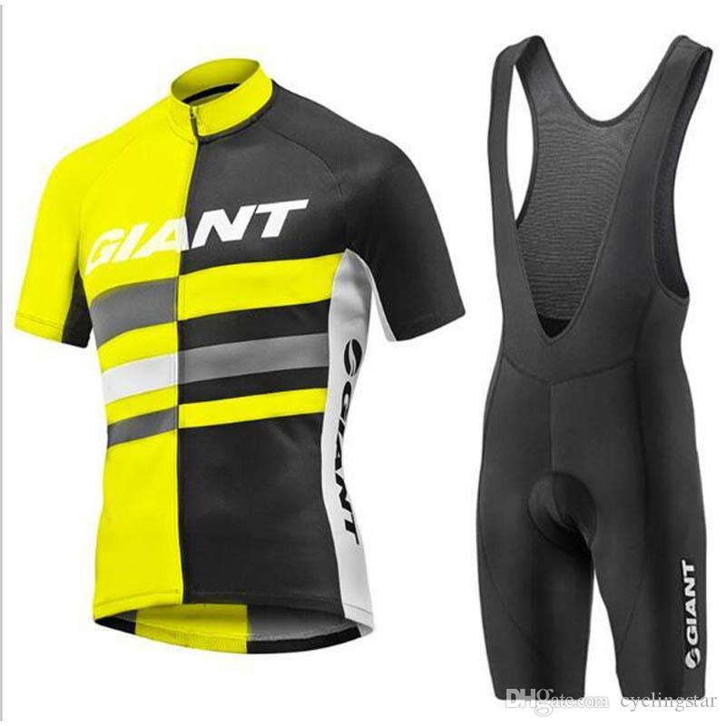 GIANT TEAM Summer Cycling Jersey Ropa Ciclismo Short Sleeve Bike shirt Bib Pants suit mens quick dry mtb Bicycle Sportswear Y051301