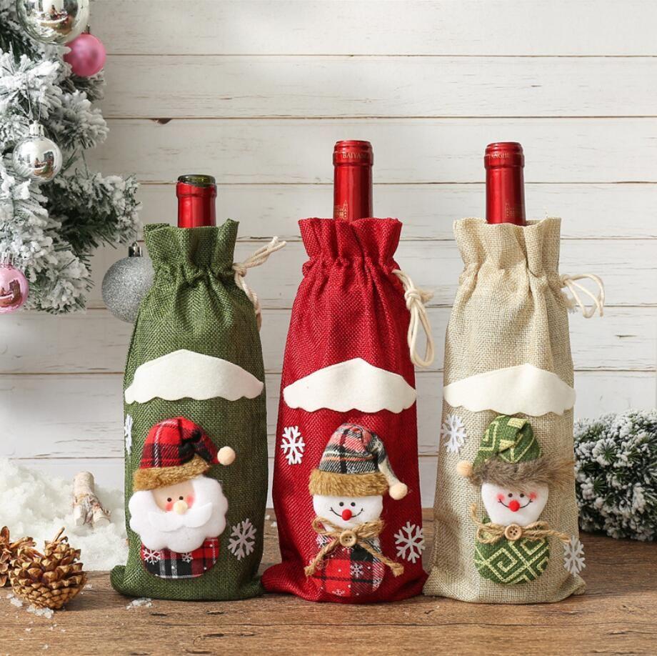 خلاقة الكرتون هدية عيد الميلاد الكتان النبيذ حقائب غطاء زجاجة حامل رأس السنة زينة عيد الميلاد لحزب الوطن عشاء الجدول الديكور