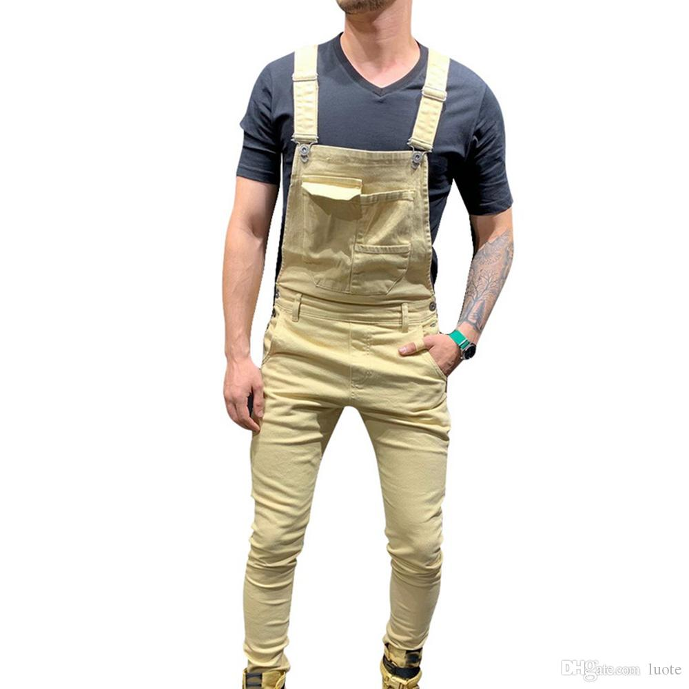 Men Jeans Denim Dungaree Bib Overalls Jumpsuits Moto Biker Jeans Pants Trousers Solid Casual Long Pants Clothing
