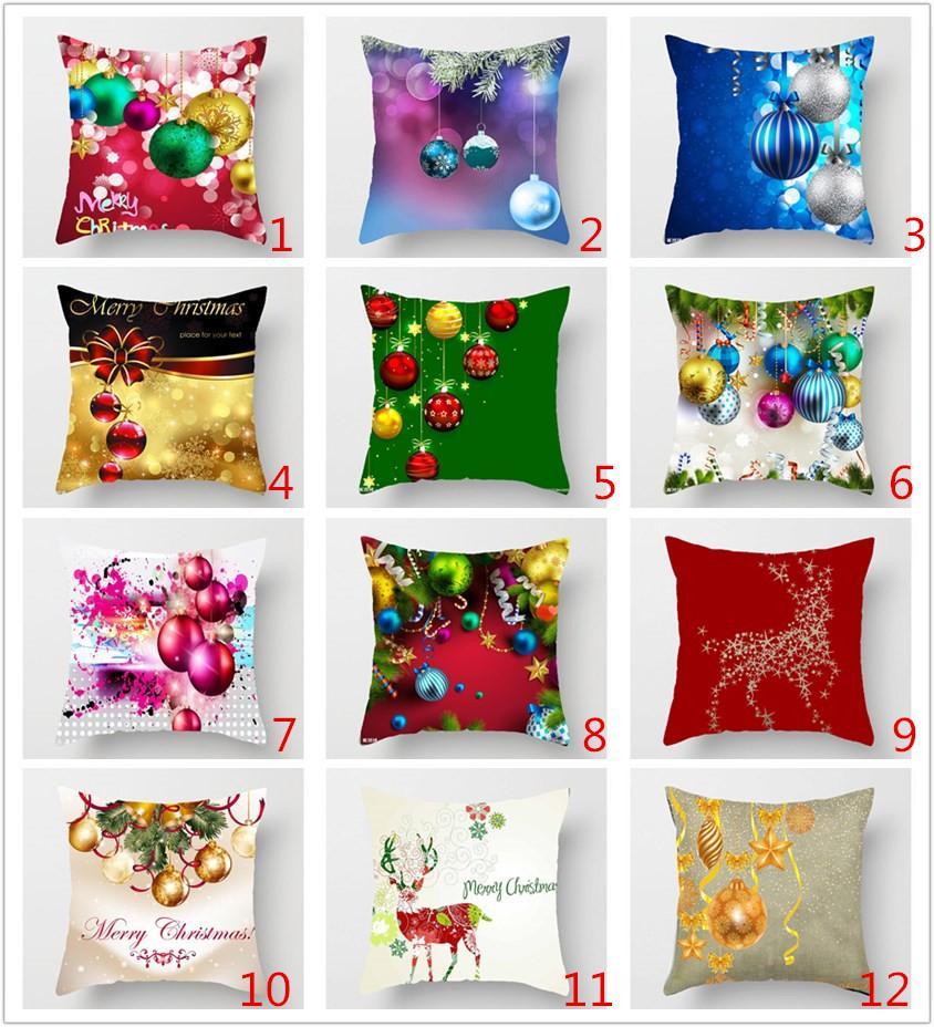 caso di Natale Cuscino 3D stampe copertura del cuscino di Natale della tela da Shams quadrati Lino Gettare Federe cuscini per Bench Sofa