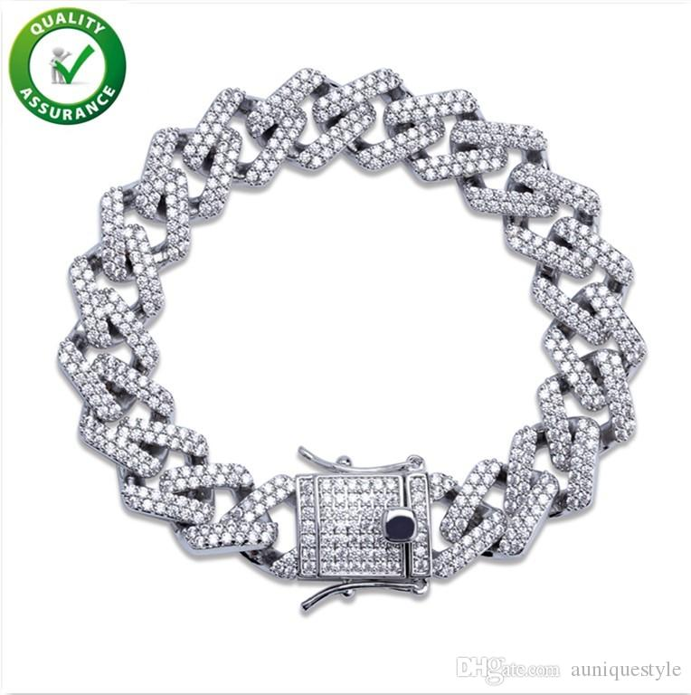 Hip Hop Jewelry Mens Bracelets Gold Iced Out CZ Cluster Diamond Cuban Miami Link Bracelet Luxury Designer Bangle Rapper Pandora Style Charms