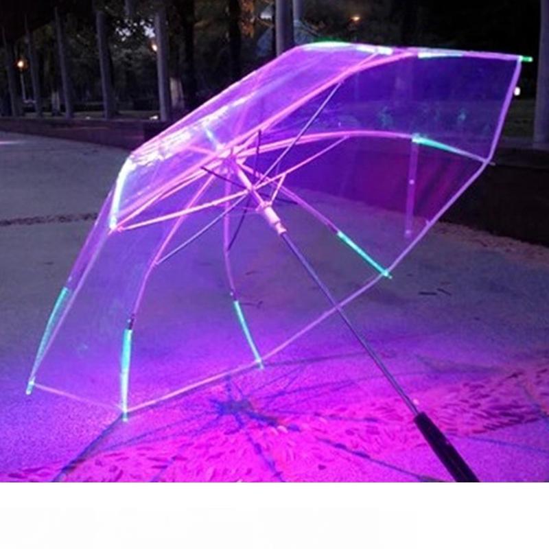 7 colori che cambiano di colore del LED luminoso pratico ombrello trasparente pioggia Bambini Donne con la torcia elettrica per gli amici