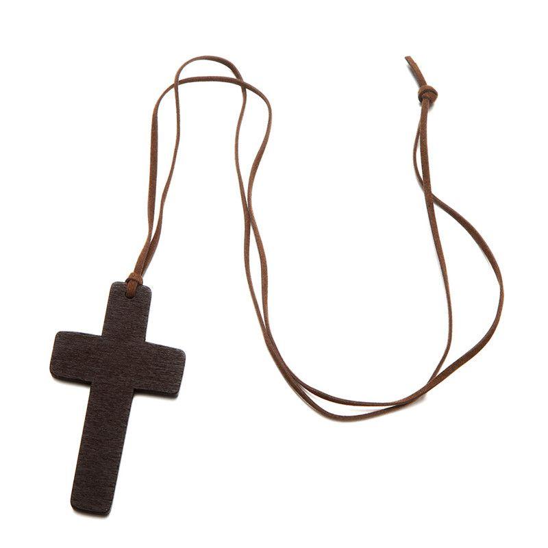 Madera colgante collar de cruz para las mujeres de los hombres collar de madera sólida largo de cuero collar de cadena de la cuerda