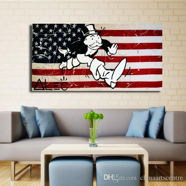 va. Hohe Qualität Alec Monopoly Handgemalte abstrakte Graffiti-Kunst-Ölgemälde United States-Flagge auf Leinwand-Wandkunst HPPME-Dekor G18