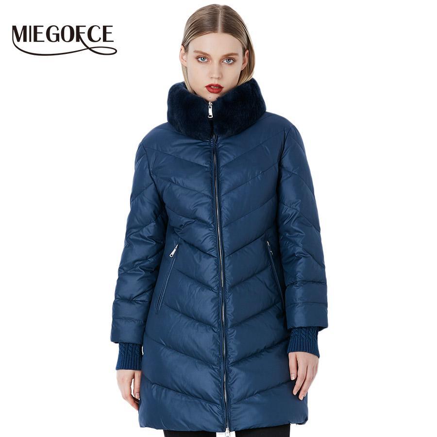MIEGOFCE 2019 JacketMX190907 Quente das Mulheres de Inverno de Parka Mulheres à prova de vento Coleção espessa camada Estilo Europeu Rabbit Fur Collar Mulheres