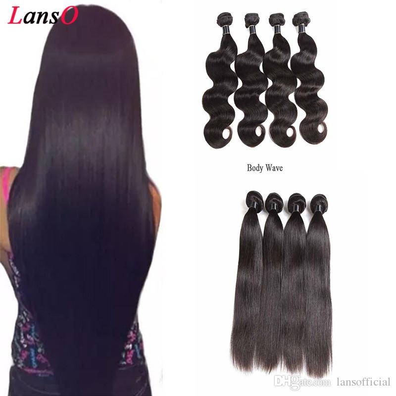 Pas cher Brésilien Remy Extensions Cheveux raides vague profonde du corps Eau Cheveux Tissages Couleur des cheveux naturels 50 g / pc Double Trames Livraison gratuite