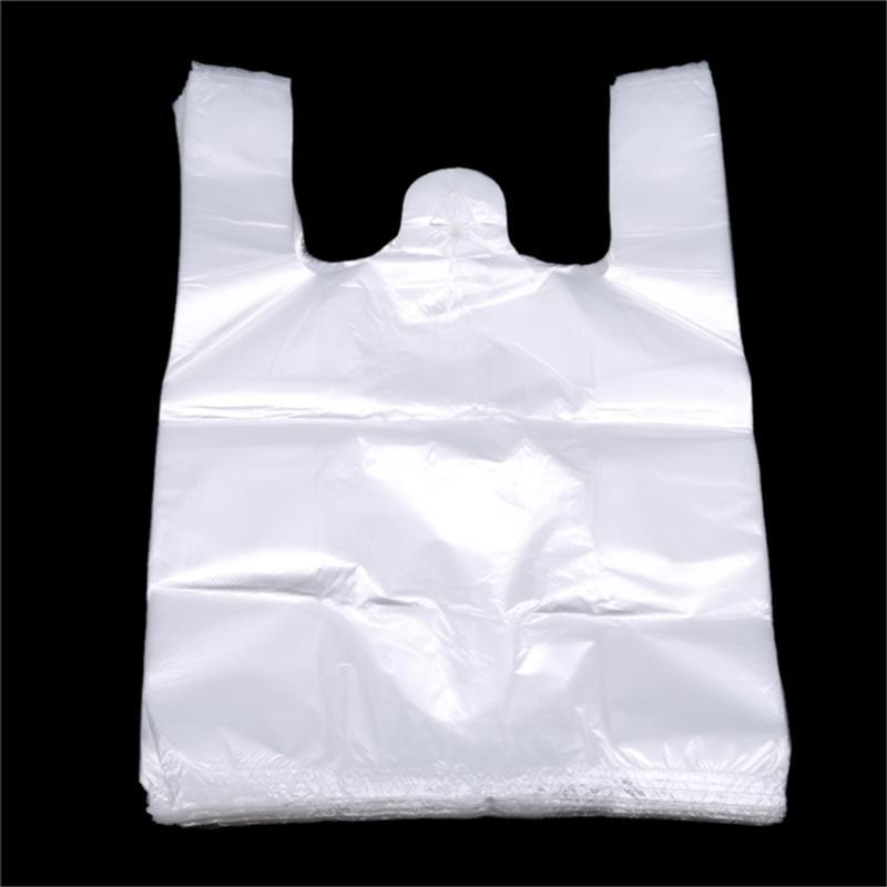 Popular Útil de compra do saco de plástico 100pcs transparentes sacos sacola de supermercado plástico com punho Embalagem