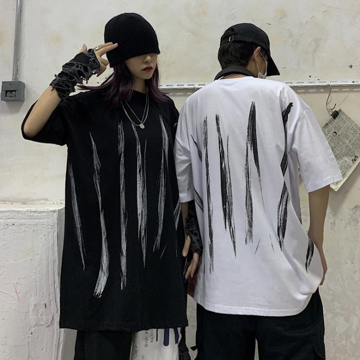 Manga corta camiseta de verano de mujeres versión coreana de INS Harajuku Estilo Impreso holgado de BF-estilo de la tapa blanca que basa la camisa Ride