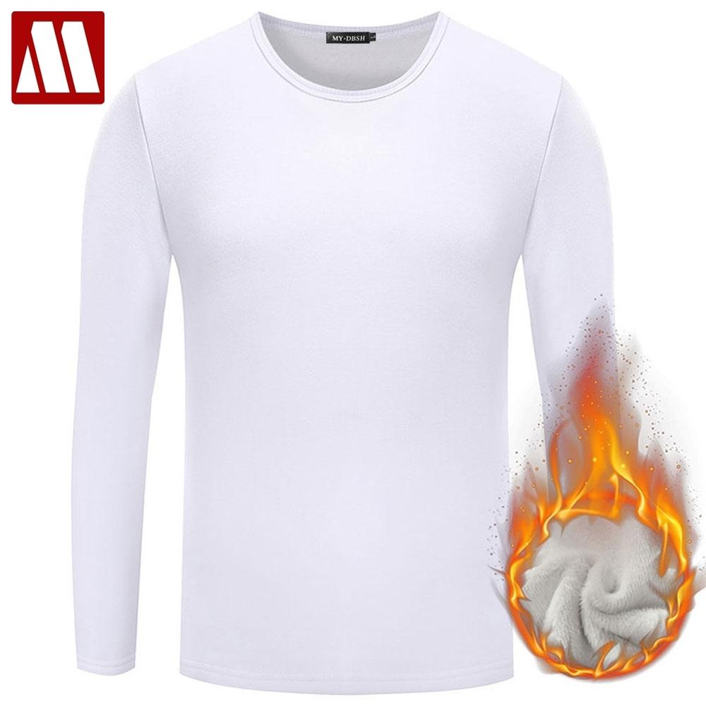 Men Casual Cotton T shirt 2019 Fashion Slim Fit Thermal Underwear Long Sleeve Solid T-Shirts Mens Winter Fleece T-shirt Male Tee Y200104