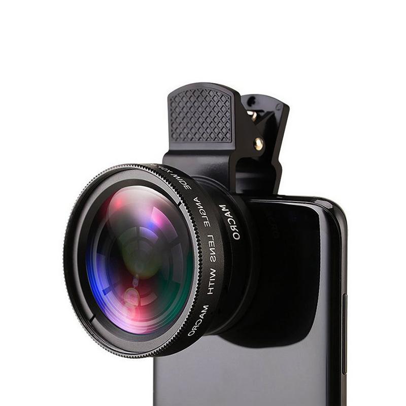 12X كاميرا الهاتف عدسة منظار احادي العين طويل التركيز عدسة 0.45X على نطاق واسع الهواتف زاوية الكاميرا عدسة الكلي العالمي للالرقمي المحمول