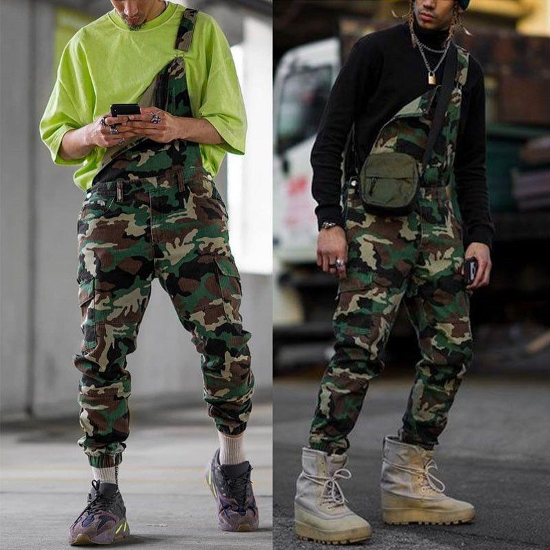 Jeans masculinos Mens moda camuflagem cinta calças macacões plus size calças casuais streetwear longo solto