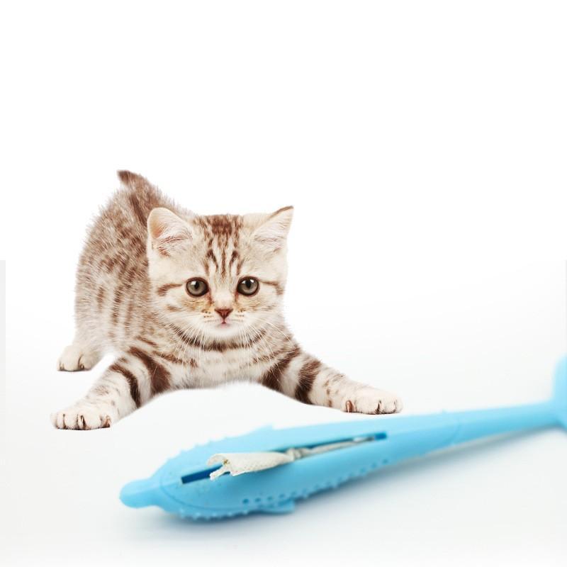Schöne Katze Zahnbürste Lebensmittelqualität Silikon Katzen Molaren Stange Fisch Förmigen Haustier Spielzeug Fit Innenraum Spielen 14tt E1