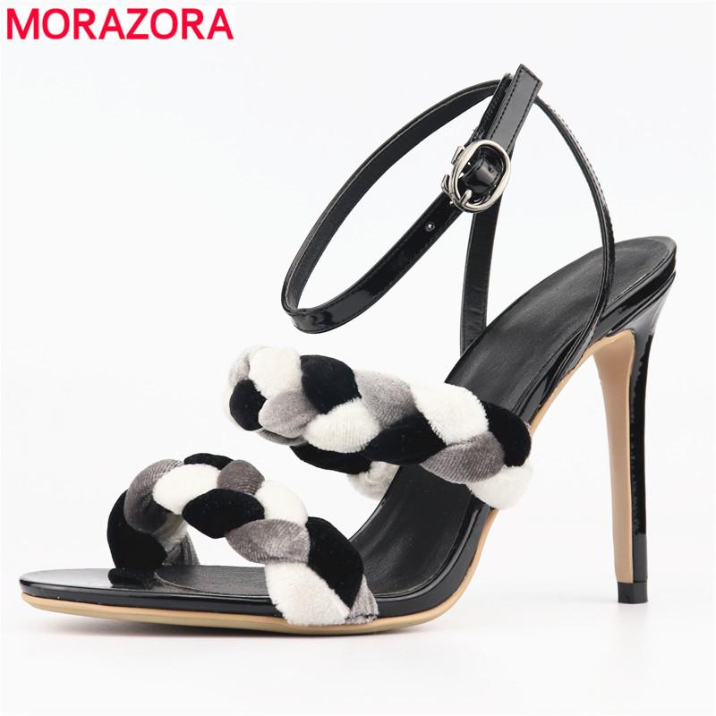 MORAZORA 2019 New Women sandals high quality stilettos high heels party wedding shoes buckle ladies sandals fashion shoes