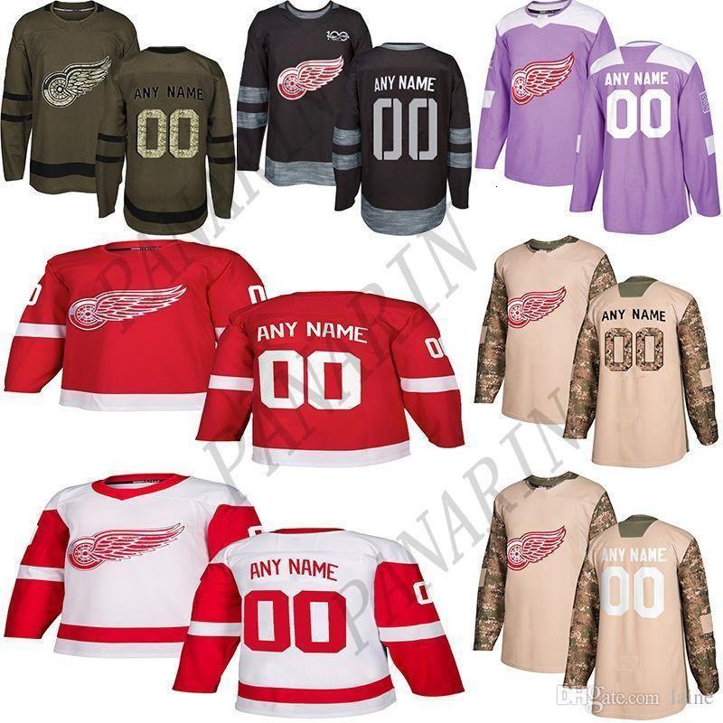 2019 Notícias Detroit Red Wings Hockey Jerseys Vários estilos dos homens feitos sob encomenda algum nome faz Número Hockey Jerseys
