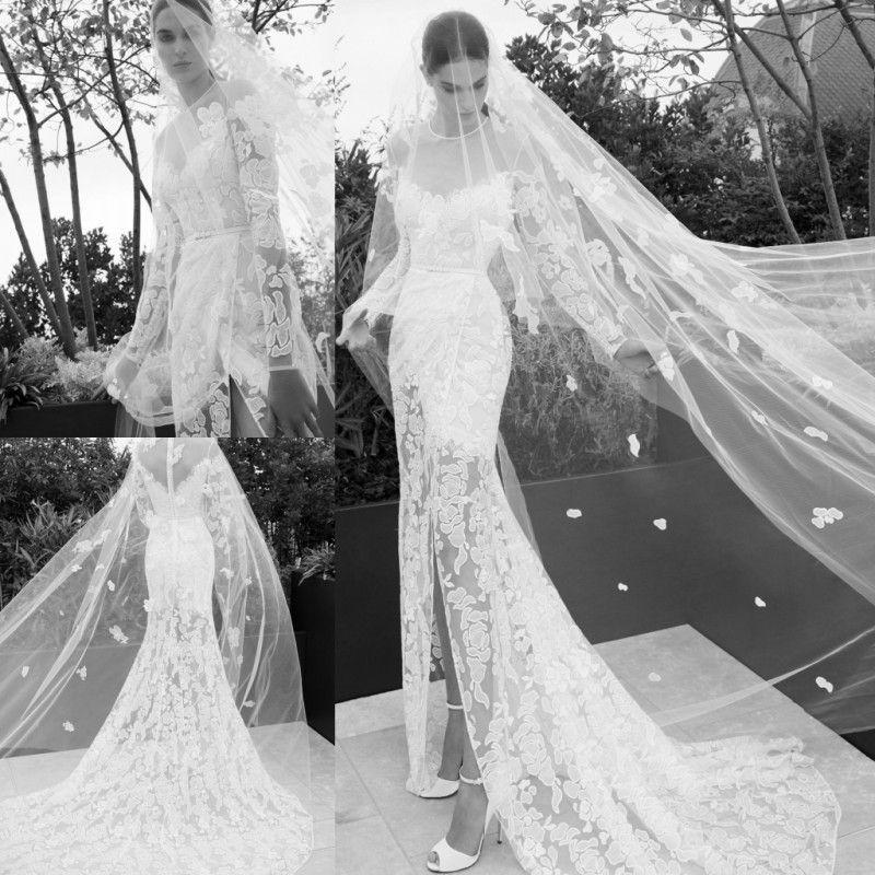 Elie Saab 2019 Mermaid Split Wedding Dresses Sheer Neck Long Sleeve Lace Appliqued Beach Wedding Dress Bridal Gowns Plus Size
