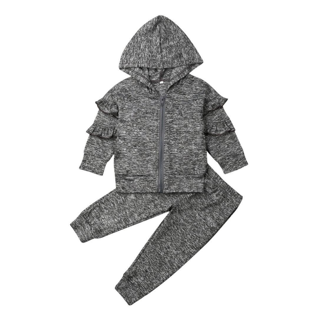 2-5Years Kid filles Vêtements Set Cool Kids Baby Girl Ruffle Hauts Pantalons Sweat d'hiver Tenues Vêtements