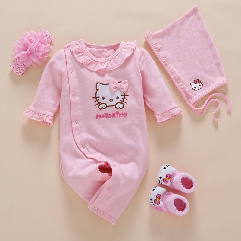 4 adet / takım Yeni Doğan Kız Elbise Romper Pamuk Sevimli Nakış Bebek Yürüyor Tulum + kafa + çorap + şapka Meisje Vestido Batism Q190520