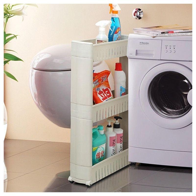 Slim Slide Out Kitchen Trolley Rack Holder Storage Shelf Tower Folding 3 Tire, White Bathroom Storage Organization