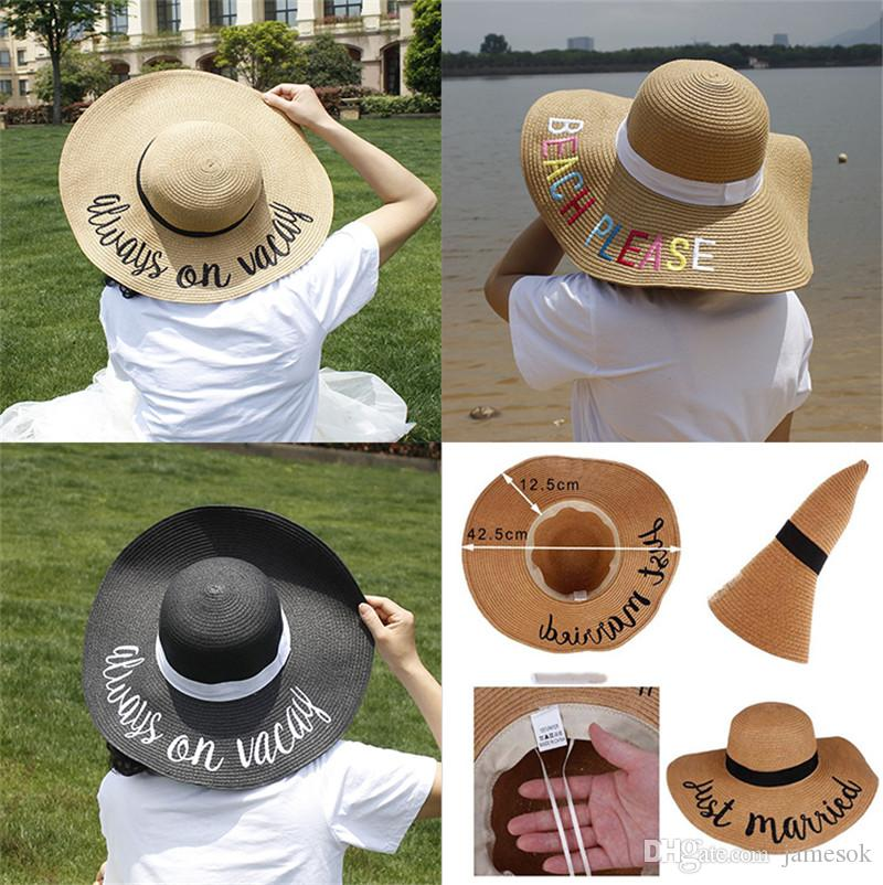 2019 Hot Letter Embroidery Cap Big Brim Ladies Summer Straw Hat Youth Hats for Women Shade Sun Hats