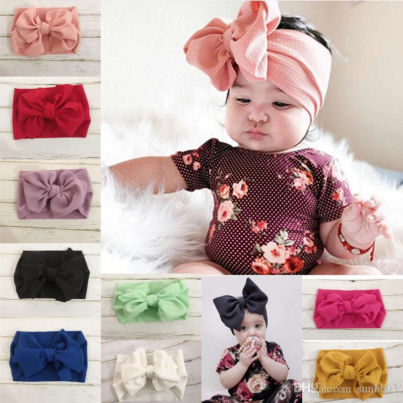 New Europe Baby Girls DIY Big Bow Headband Kids Elastic Bowknot Hairband Children Bandanas Head Band Hair Accessory 9 Colors 14964