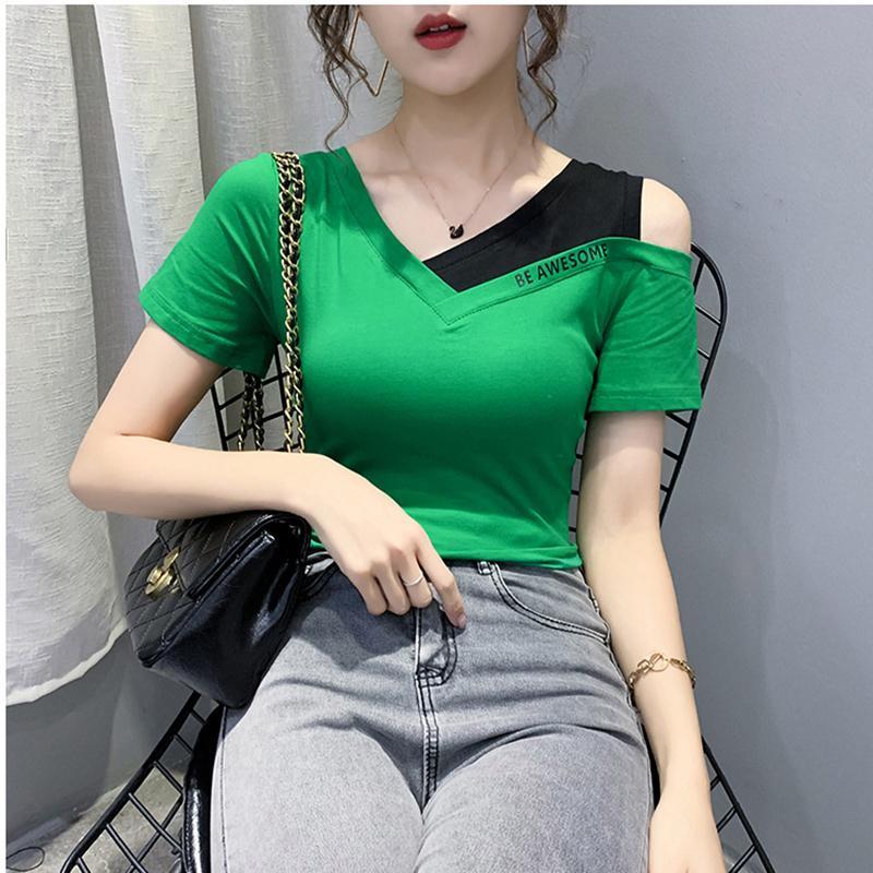 Lettre d'été V-Neck T-shirt T-shirt Coton Femme de l'épaule Tops manches courtes Vêtements pour femmes T-shirt Femme T190519