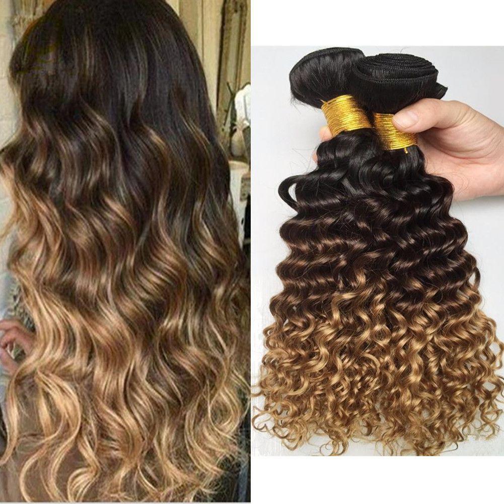 1B / / 27 4 Bal Sarışın Ombre Brezilyalı Derin Kıvırcık İnsan Saç Paketler 3PCS Bakire Brezilyalı Üç Ton Ombre İnsan Saç Dokuma Derin Kıvırcık