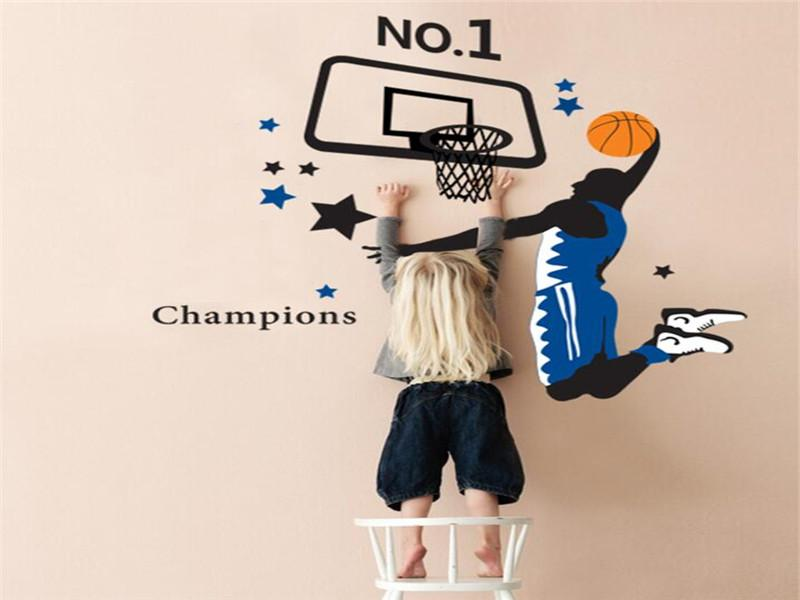 3D Wallpaper DIY parede jogando basquete decoração fundo menino de escola quarto dormitório parede removível adesivos