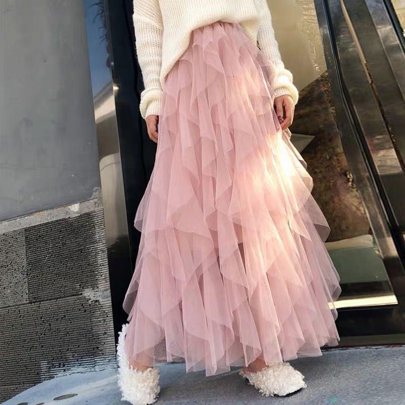 Mode Tulle Jupe Femmes Long Maxi Jupe 2020 Printemps Été coréenne Mignon Rose taille haute plissés Femme École Soleil