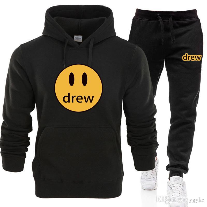 2020 hombre y para mujer sudaderas con capucha + pantalones traje Drew House sonrisa hombres de impresión de manga larga con capucha Justin Bieber estilo de invierno
