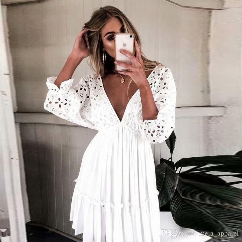 Kadın Yaz Elbise Boho Yüksek Bel Bohemian Elbiseler Dantel Fırfır V Yaka Halter Askı parti Mini Elbise kadınlar için şifon vestidos