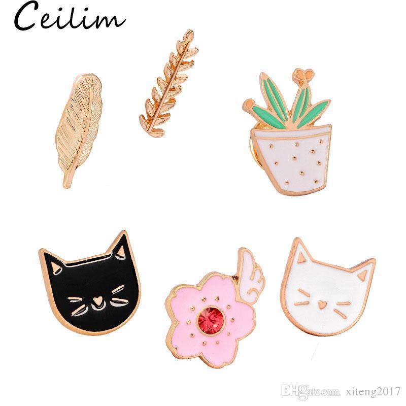 Nette Katze Broschen bunte Emaille Pins Abzeichen für Kleidung Bunte Cartoon Broschen Sukkulente Pflanze Kaktus Jacke Tasche DIY Abzeichen