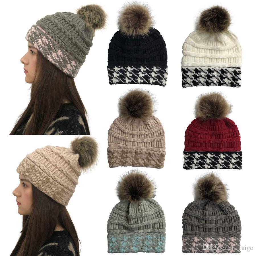 De piel de visón bola casquillo de la piel Pom Poms Skullies Gorros sombrero del invierno de las mujeres muchacha para 's sombrero de punto Cap Gorros gruesa capa Mujer