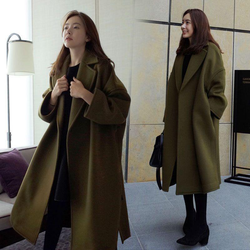 Autunno e inverno delle nuove donne lungo cappotto di lana verde militare cappotto di lana femminile lungo tratto versione coreana del cappotto di modo