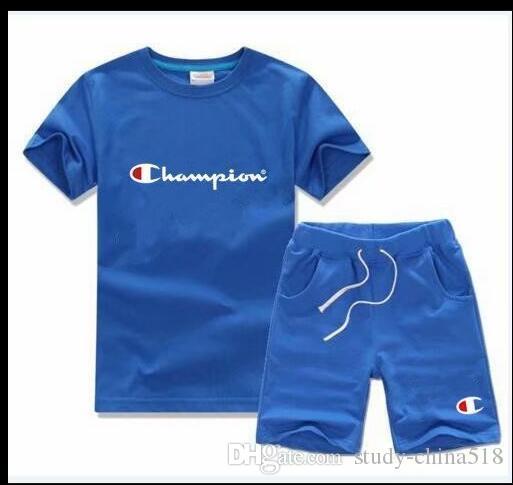 2019 Marcas de moda Fotos de marcas Conjuntos para niños Camiseta para niños y pantalones cortos Pantalones para niños