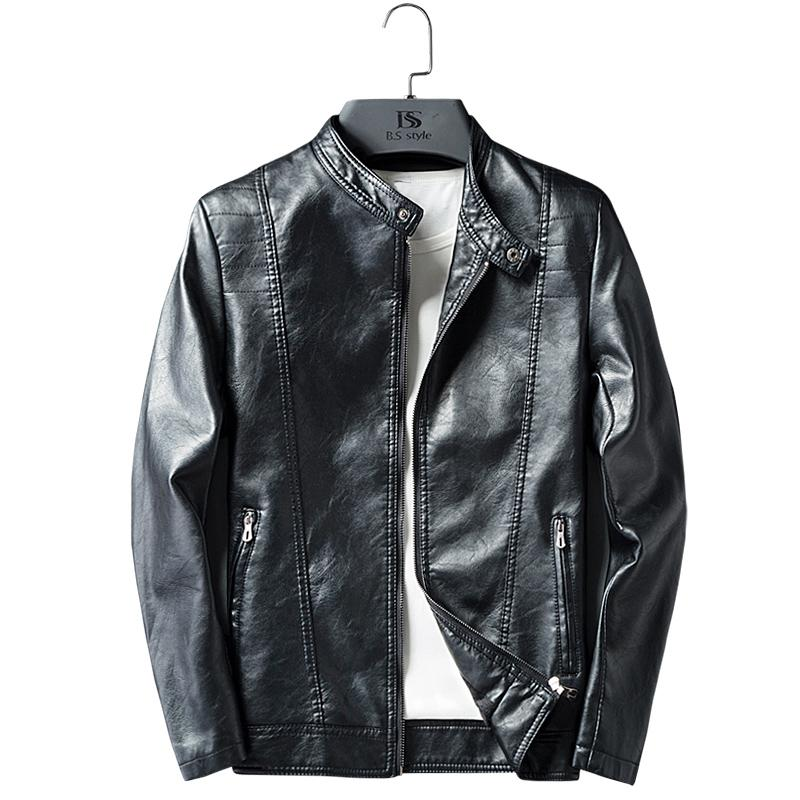 Fashion Autumn Male Leather Jacket Plus Size 3XL Black Mens Stand Collar Coats Faux Leather Biker Jackets PU 2019 New Brand K206