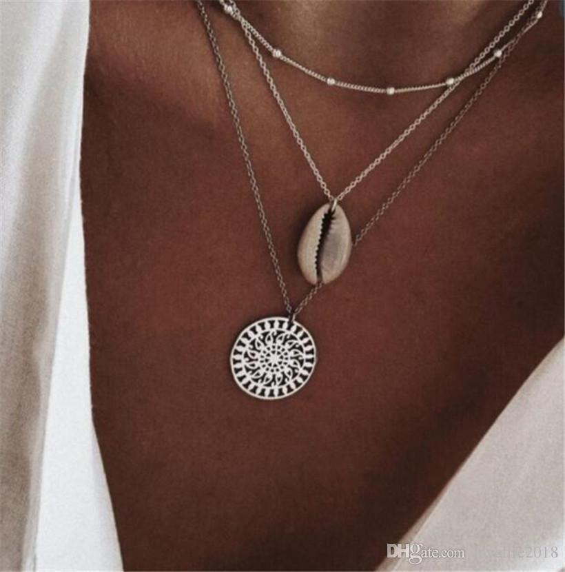 Tre strati di conchiglie a conchiglia modello conchiglia conchiglia naturale in argento a conchiglia donne collana a girocollo multistrato gioiello di Bohemian T154