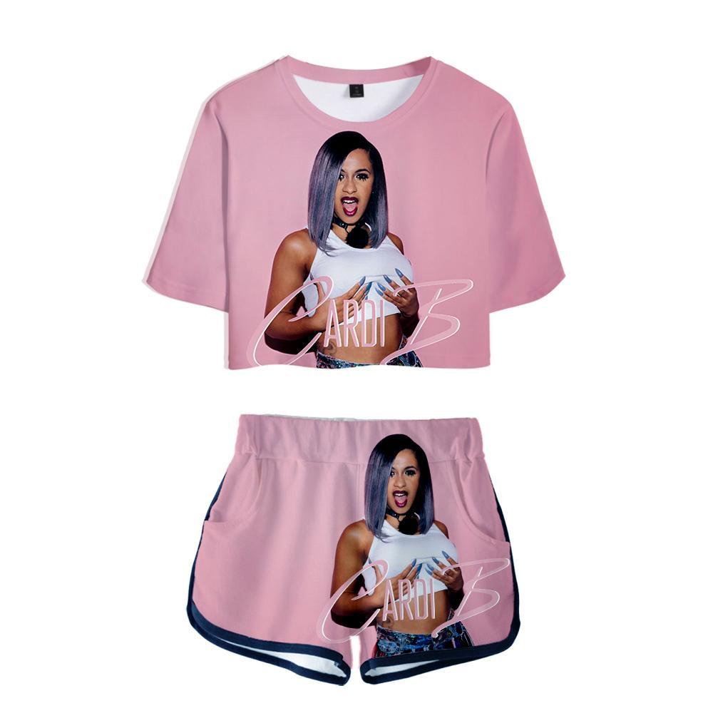 Наряды для женщин Cardi B Pink Outfit 3d Футболка с принтом Женский костюм Шорты Лето 2 шт. Укороченный топ Ensemble Femme Q190516