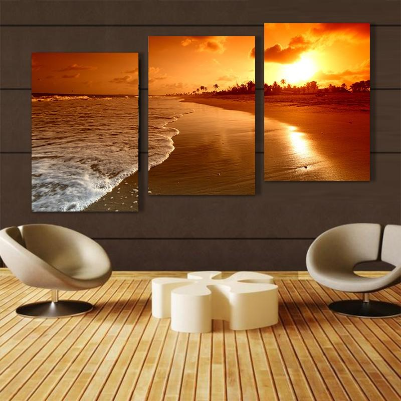 3 pcs Realist cloud sea beach pictures canvas oil painting on wall art for living room print modern modular home decoration