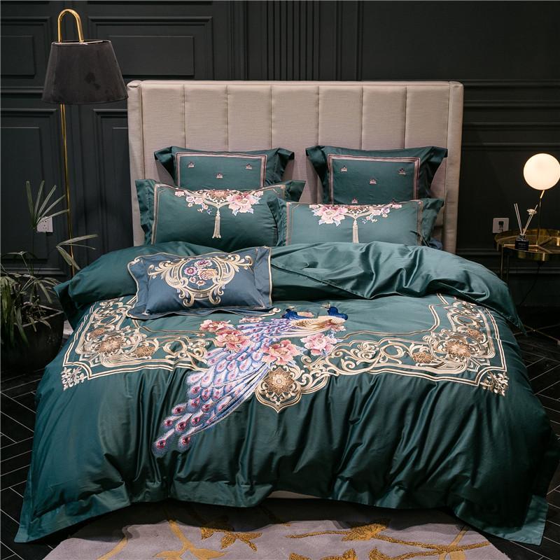 Bordado de pavo real 1/4/6 PCS Conjunto de ropa de cama Ropa de cama 1000TC Egipcio Algodón Ropa de cama Cubierta de edredón Set Hoja de cama