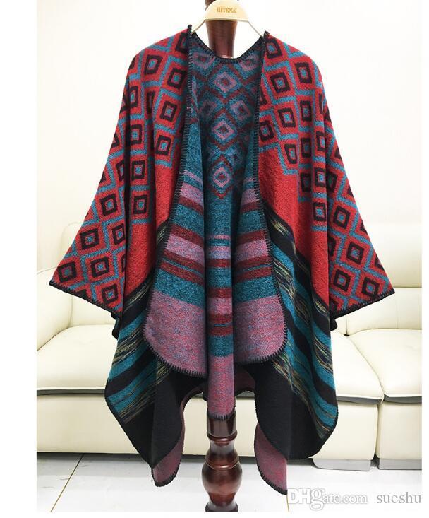 Free Shipping Drop Shopping Mimics Cashmere Women's Cape Cloak Shawl Cappa Wraps Tippet Scarf Women's Winter Red Fashion Designer Warm Cheap