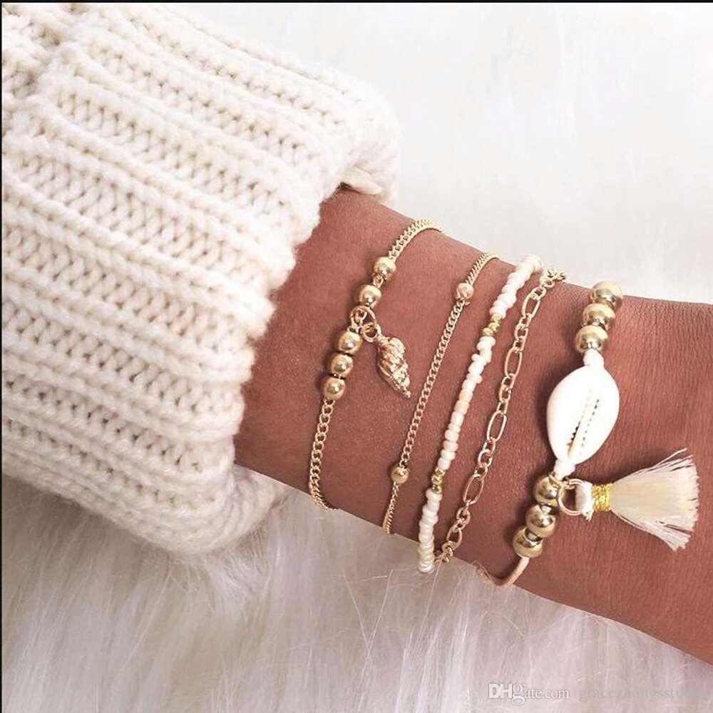 Granos de concha pulseras para mujeres bohemio estilo de vacaciones pulsera de cadena de eslabones borla shell colgantes de joyería de moda 5 unids por conjunto