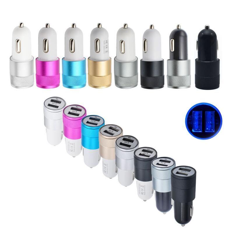 알루미늄 합금 2 USB 포트 범용 지능형 충전 강력한 호환 DC12-24V 2.1A 모든 휴대 전화에 대 한 듀얼 USB 자동차 충전기