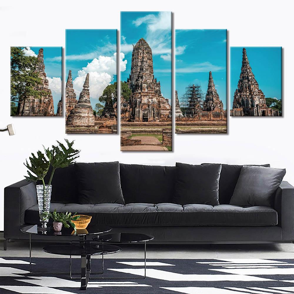 Posters Prints 5 Piece Historic sites of ancient Thai cities and temples Wall Art Canvas Paintings Art Wall Picture Home Décor